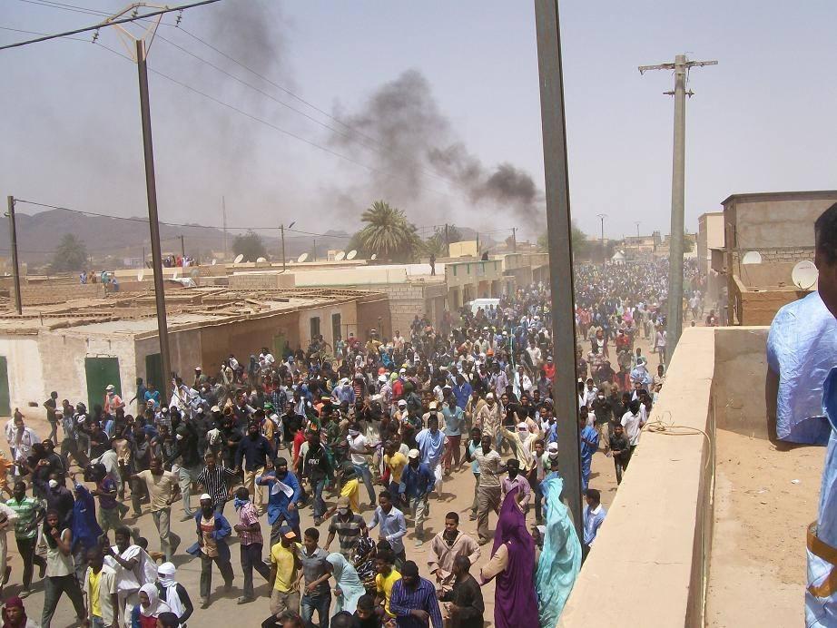 Manifestation de travailleurs dans la cité minière de Zouerate (photo: Facebook)